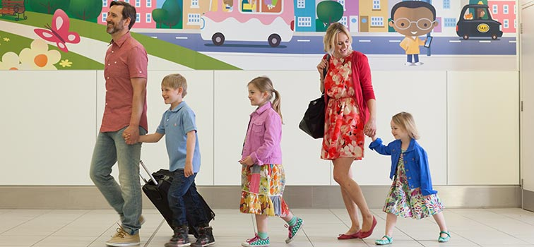 passengers visitors airport services travelling with children
