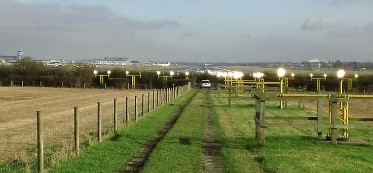 Approach lights at Gatwick Airport
