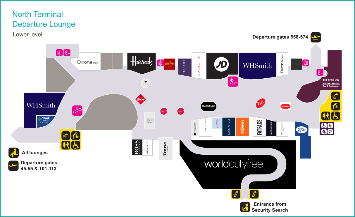 Gatwick North Terminal lower level shopping map