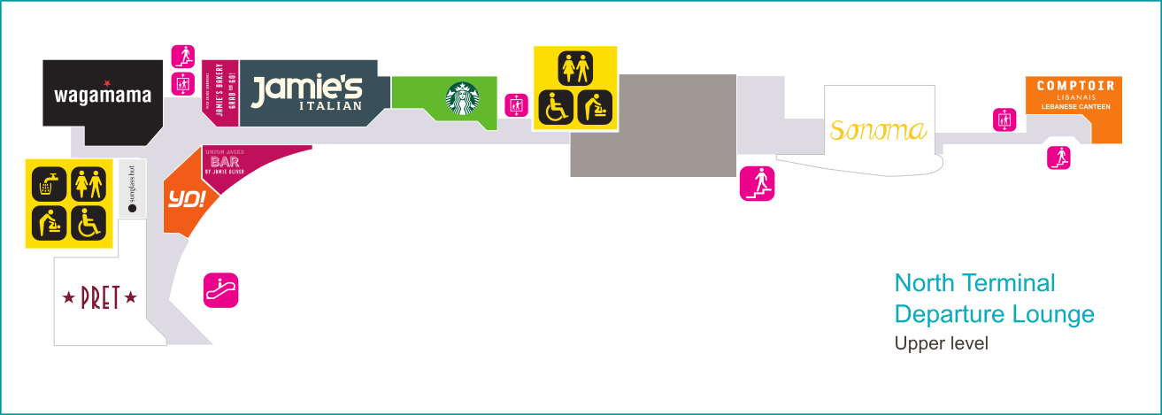 Gatwick North Terminal upper level shopping map