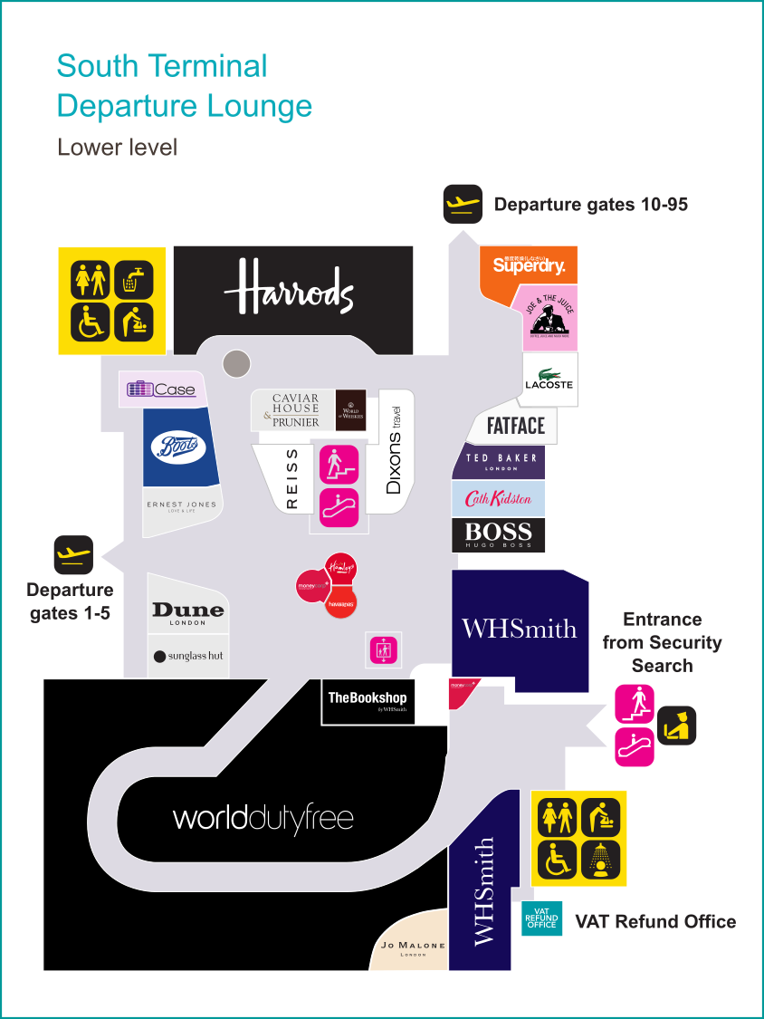 Gatwick South Terminal lower level shopping map