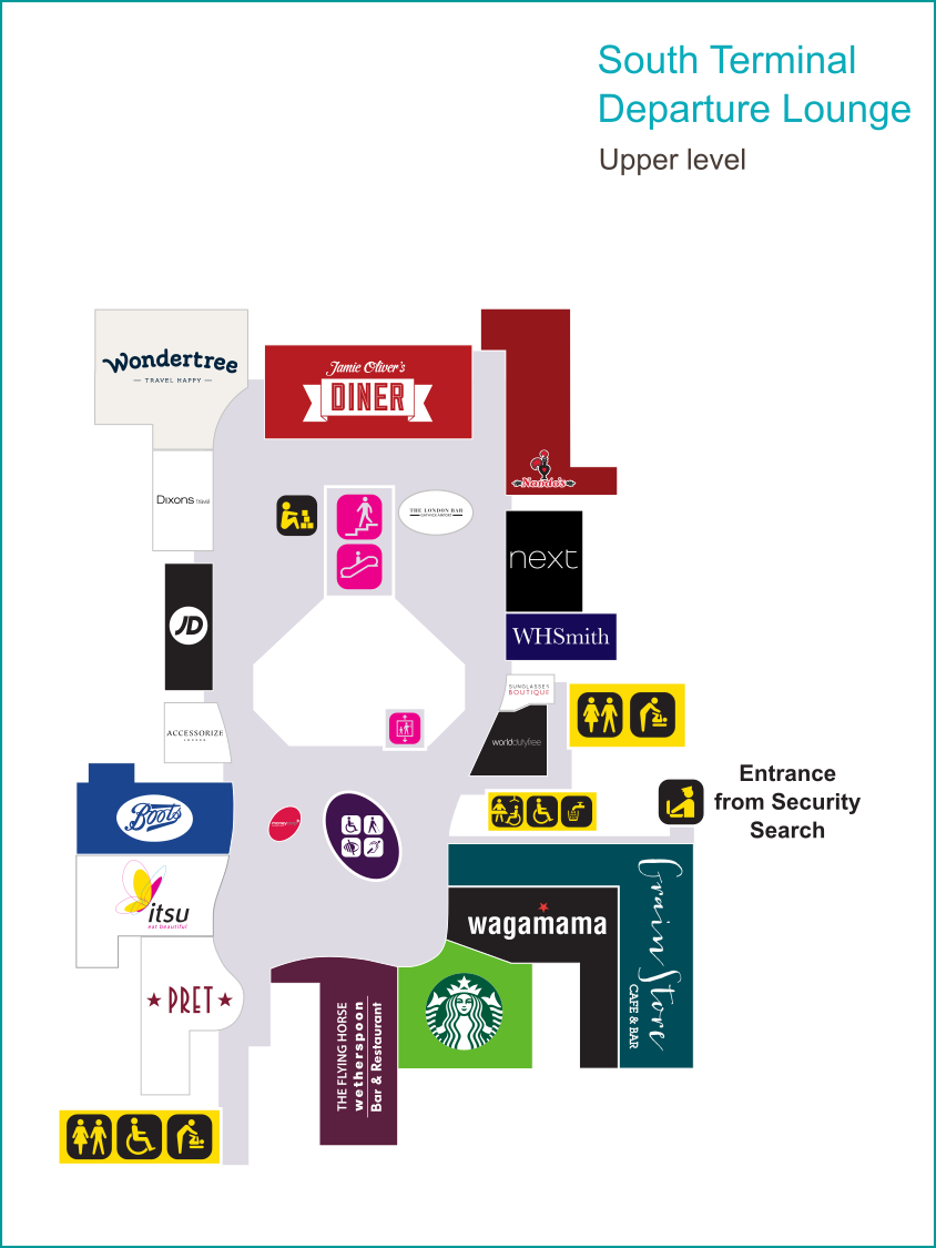 Gatwick South Terminal upper level shopping map