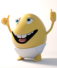 Character with thumbs up